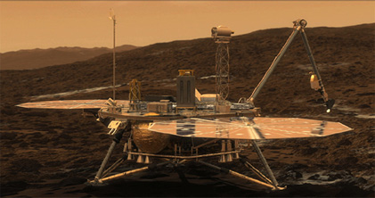 CGI image of NASA Phoenix lander now on Mars 2008